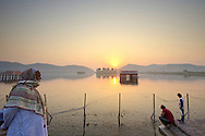 People arriving at Man Sagar lake by sunrise