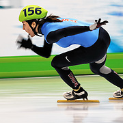 February 13, 2009 - 2010 Winter Olympics - Vancouver, Canada - Lana Gehring competes in 3000m Women's Relay event during Short Track Speed Skating preliminary competition held at the Pacific Coliseum during the 2010 Winter Olympic Games.
