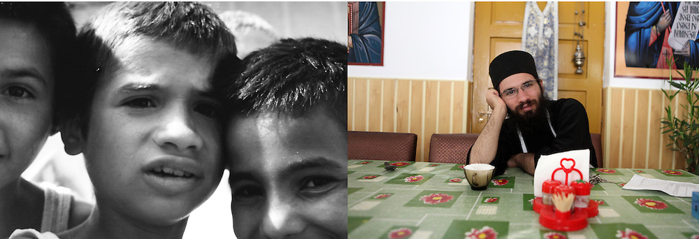 """Dragos at the orphanage in 1993 when he was 8 and in 2011 at the Sihla Monastery in Bucovina. Dragos has always been very religious and chose to become an Orthodox monk when he was 19. He has been living in Sihla since 2005. He works in the kitchen and looks after the dining room. """"I am happy here. I found my place"""", he comments."""