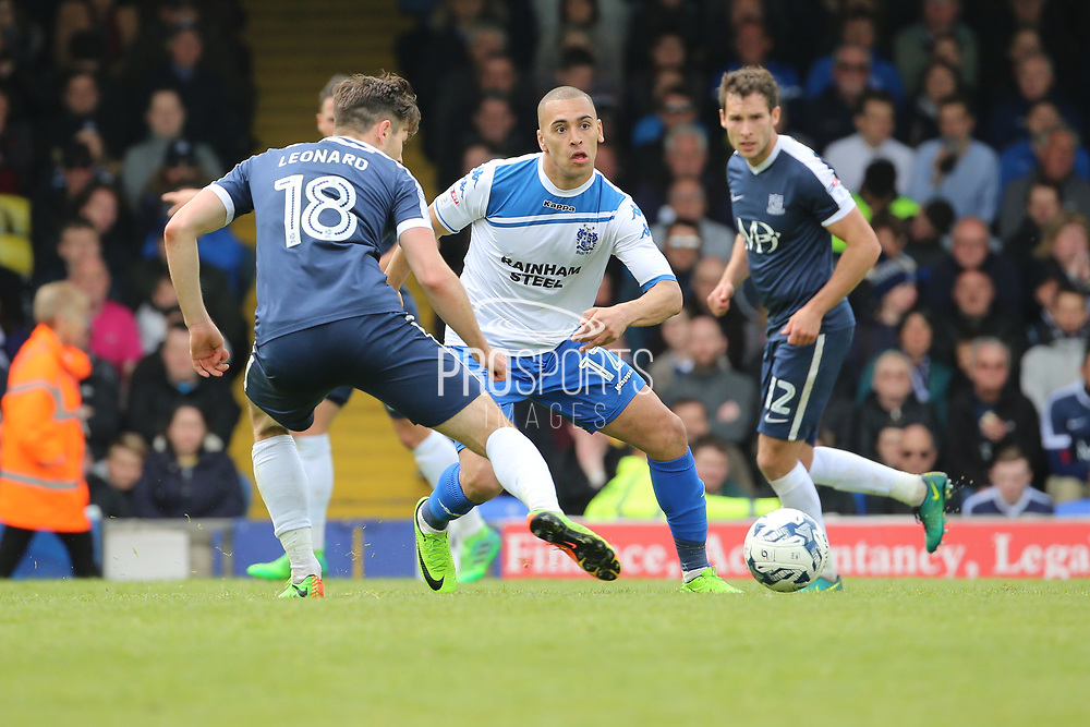Bury attacker James Vaughan (12) chasing down the ball during the EFL Sky Bet League 1 match between Southend United and Bury at Roots Hall, Southend, England on 30 April 2017. Photo by Matthew Redman.
