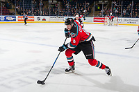 KELOWNA, CANADA - OCTOBER 28: Jack Cowell #8 of the Kelowna Rockets skates with the puck up the ice during second period  on October 28, 2017 at Prospera Place in Kelowna, British Columbia, Canada.  (Photo by Marissa Baecker/Shoot the Breeze)  *** Local Caption ***