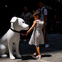 HMV's mascot Nipper is pictured during a street marketing campaign to promote the opening of new concept store HMVideal in Hong Kong's Central district on 25 July 2014. Photo by Xaume Olleros / studioEAST