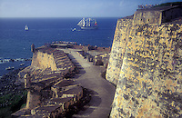 "Tall ship entering San Juan harbor for ""La Gran Regata Colón 1992"""