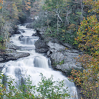 Cullasaja Falls near Highlands, North Carolina, with beautiful fall colors.