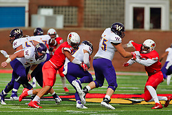 NORMAL, IL - October 06: Romeo McKnight makes contact with Sean McGuire during a college football game between the ISU (Illinois State University) Redbirds and the Western Illinois Leathernecks on October 06 2018 at Hancock Stadium in Normal, IL. (Photo by Alan Look)