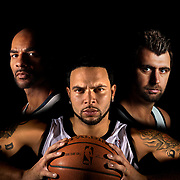 THIS IS THE COVER PHOTO----Utah Jazz players, from left Carlos Boozer, Deron Williams and Mehmet Okur for the cover of the special section. Photo taken in Salt Lake City, Utah, Monday, Oct. 12, 2009. August Miller, Deseret News