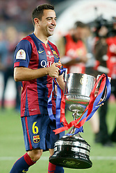 30.05.2015, Camp Nou, Barcelona, ESP, Copa del Rey, Athletic Club Bilbao vs FC Barcelona, Finale, im Bild FC Barcelona's Xavi Hernandez celebrates the victory // during the final match of spanish king's cup between Athletic Club Bilbao and Barcelona FC at Camp Nou in Barcelona, Spain on 2015/05/30. EXPA Pictures &copy; 2015, PhotoCredit: EXPA/ Alterphotos/ Acero<br /> <br /> *****ATTENTION - OUT of ESP, SUI*****