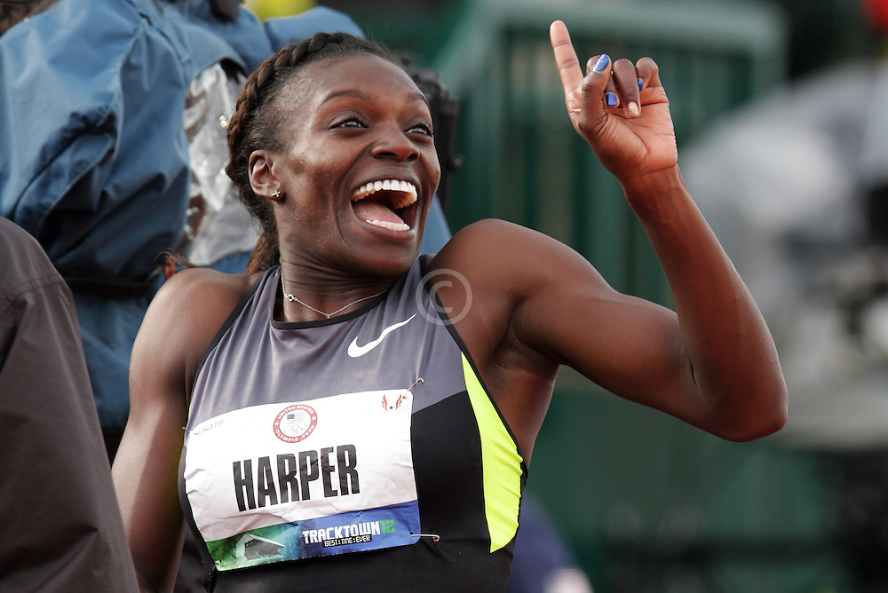 Olympic Trials Eugene 2012: women's 100 meter hurdles, Dawn Harper reacts to winning, making Olympic team