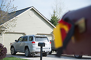 Memorial ribbon for Diren Dede, a German exchange student, on a mailbox across the street from the home of Markus Kaarma in the Grant Creek neighborhood of Missoula, Montana. Kaarma is accused of shooting and killing Dede in his garage on April 27, 2014.
