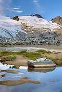 Glaciated Peaks of Boulder/Salal Divide reflected in waters of Salal Creek near Athelney Pass, Coast Range British Columbia Canada