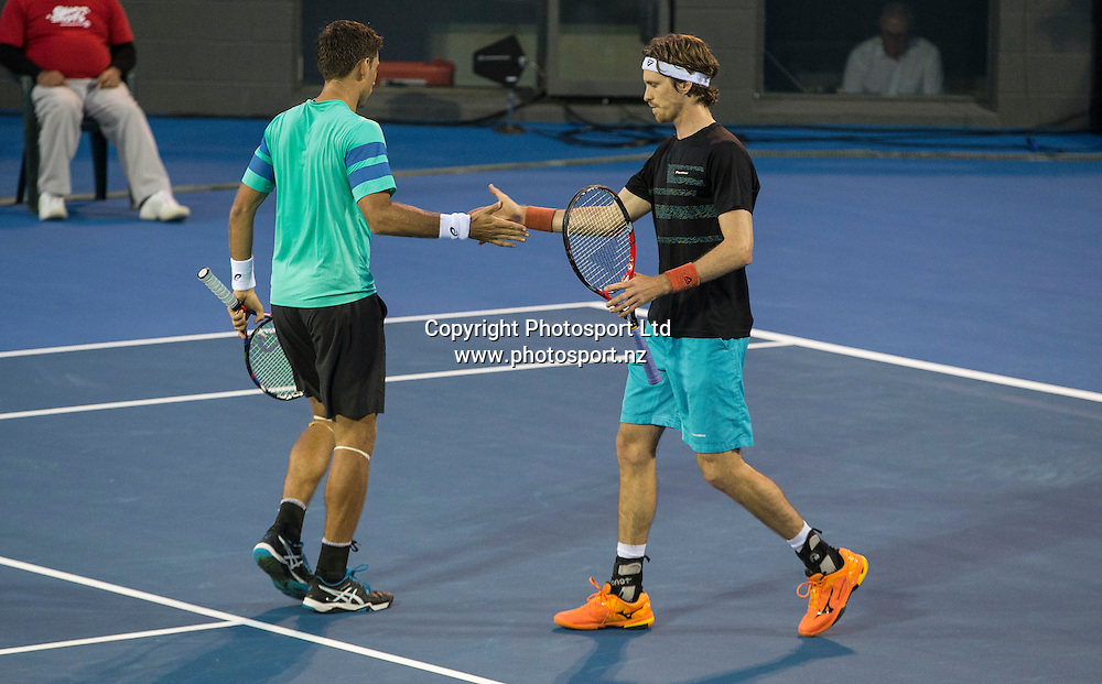 Artem Sitakl left, and Marcus Daniell on their way to winning the mens doubles final in the Pascoes NZ Tennis Champs held at the ASB Tennis Arena in Auckland. <br /> Credit; Peter Meecham/ www.photosport.nz