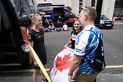 Leah Kirchmann (CAN) of Team Sunweb chats to Canadian fans before the Prudential RideLondon Classique, a 68 km road race starting and finishing in London, United Kingdom on August 3, 2019. Photo by Balint Hamvas/velofocus.com