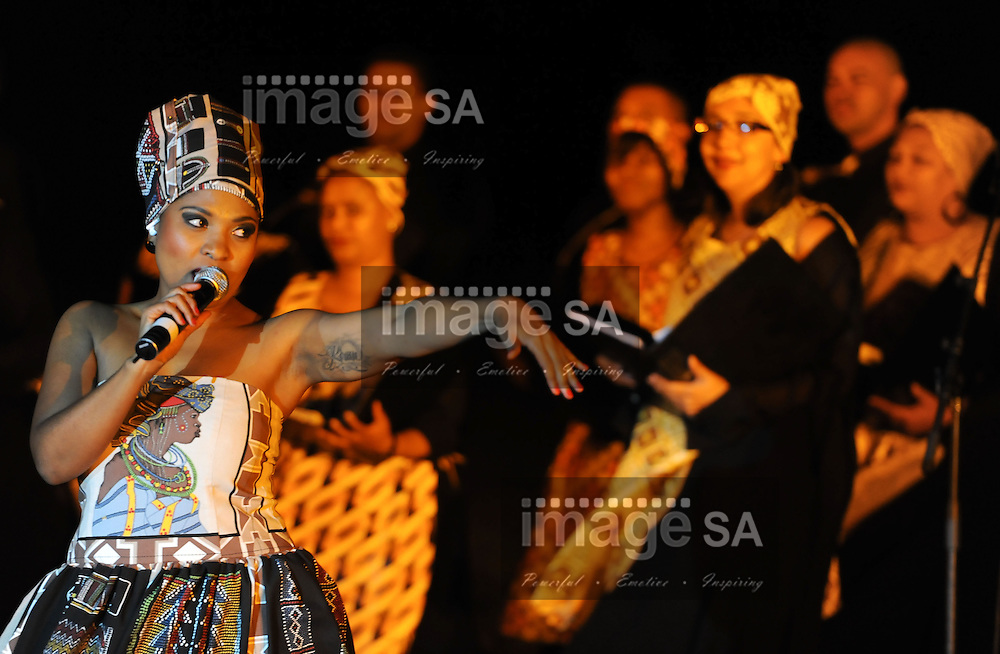 CAPE TOWN, South Africa - Friday 29 March 2013, Felicity Kiran with the Winelands Chamber Choir during the opening ceremony of the 25th Metropolitan Premier Cup soccer tournament taking place at Erica Park Sports Complex in Belhar..Photo by Roger Sedres/ ImageSA