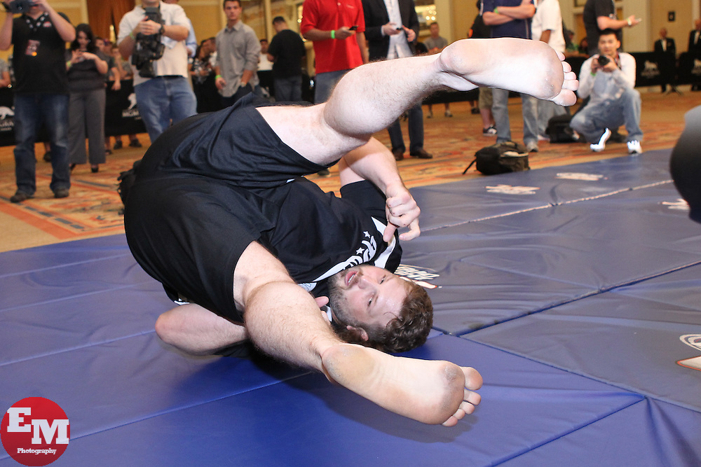 May 26, 2011; Roy Nelson works out for the media in preparation for UFC 130 at the MGM Grand in Las Vegas, NV.