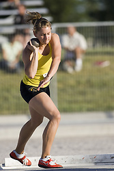 12 July 2007 (Windsor--Canada) -- The 2007 Canadian National Track and Field Championships... Jennifer Bell competing in the heptathlon shot put.