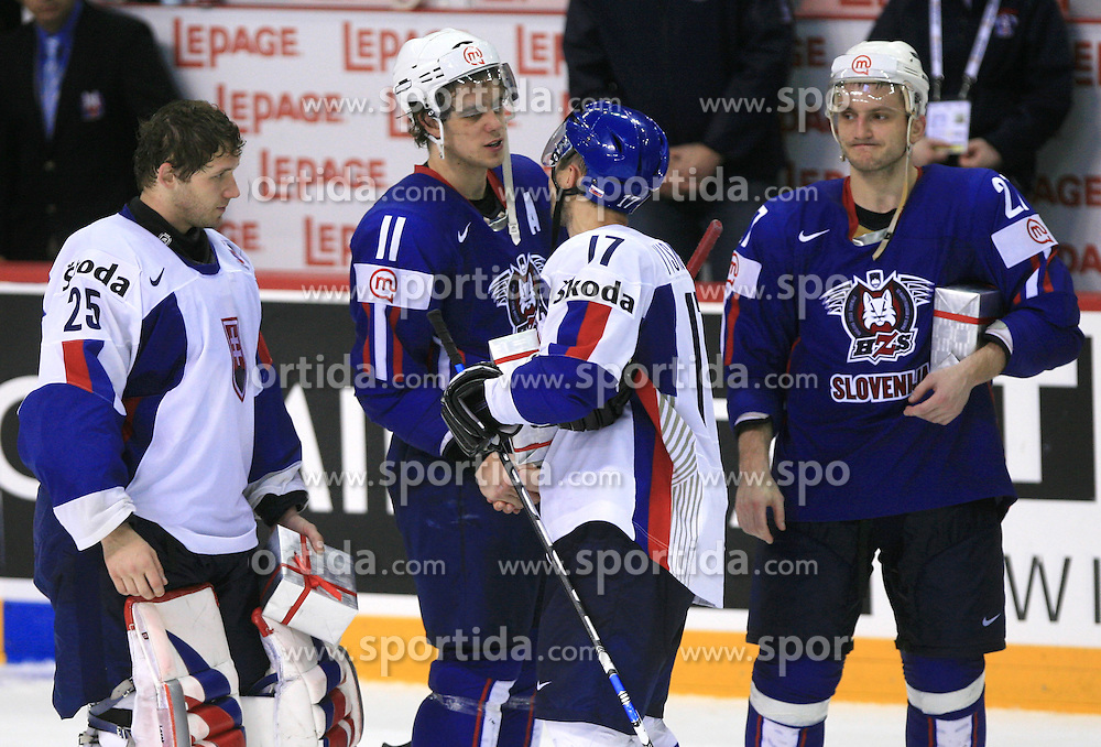 Goalkeeper Jan Lasak of Slovakia, Anze Kopitar of Slovenia, Lubomir Visnovsky of Slovakia and Miha Rebolj of Slovenia, best players  after ice-hockey game Slovenia vs Slovakia at second game in  Relegation  Round (group G) of IIHF WC 2008 in Halifax, on May 10, 2008 in Metro Center, Halifax, Nova Scotia, Canada. Slovakia won after penalty shots 4:3.  (Photo by Vid Ponikvar / Sportal Images)