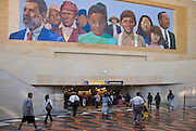 Union Station, Los Angeles, CA, Amtrak Train Depot,  California and Metrolink, Wall Mural, Interior, Deco Era, terra cotta tile,