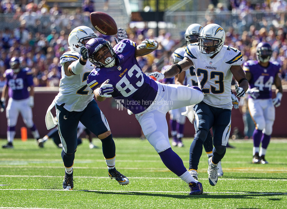 Sep 27, 2015; Minneapolis, MN, USA; Minnesota Vikings tight end MyCole Pruitt (83) against the San Diego Chargers at TCF Bank Stadium. The Vikings defeated the Chargers 31-14. Mandatory Credit: Brace Hemmelgarn-USA TODAY Sports