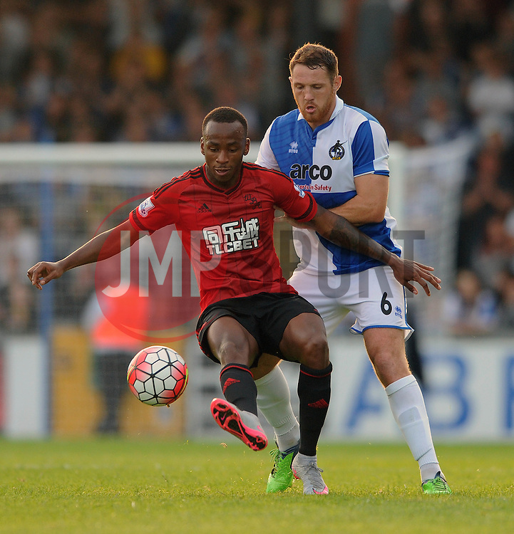 Saido Berahino of West Brom is closed down by Tom Parkes of Bristol Rovers - Mandatory byline: Dougie Allward/JMP - 07966386802 - 31/07/2015 - FOOTBALL - Memorial Stadium -Bristol,England - Bristol Rovers v West Brom - Phil Kite Testimonial Match