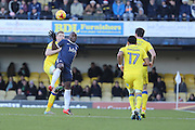 AFC Wimbledon defender Chris Robertson (34) and Southend United striker Marc-Antoine Fortune (14) during the EFL Sky Bet League 1 match between Southend United and AFC Wimbledon at Roots Hall, Southend, England on 26 December 2016. Photo by Stuart Butcher.