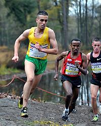 27-11-2011 ATLETIEK: NK CROSS 53e WARANDELOOP: TILBURG<br /> Khalid Choukoud wordt Nederlands kampioen. Rechts Abdi Nageeye en Jesper van der Wielen<br /> ©2011-FotoHoogendoorn.nl