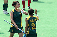 Coetzee Pietie and Lenise Marais celebrate during the women's hockey match of the The Commonwealth Games between South Africa and Trinidad and Tobago held at the Stadium in New Delhi, India on the  October 2010..Photo by:  Ron Gaunt/SPORTZPICS/PHOTOSPORT