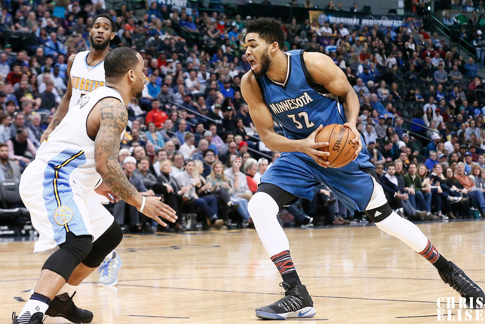 15 February 2017: Denver Nuggets guard Jameer Nelson (1) defends on Minnesota Timberwolves center Karl-Anthony Towns (32) during the Minnesota Timberwolves 112-99 victory over the Denver Nuggets, at the Pepsi Center, Denver, Colorado, USA.