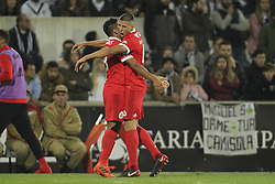November 5, 2017 - Guimaraes, Guimaraes, Spain - Benfica's Argentinian forward Toto Salvio celebrates after scoring goal with teammate Benfica's Portuguese defender Ruben Dias during the Premier League 2017/18 match between Vitoria SC and SL Benfica, at Dao Afonso Henriques Stadium in Guimaraes on November 5, 2017. (Credit Image: © Dpi/NurPhoto via ZUMA Press)
