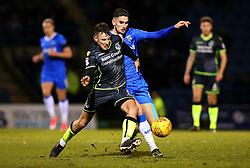Ollie Clarke of Bristol Rovers takes on Conor Wilkinson of Gillingham - Mandatory by-line: Robbie Stephenson/JMP - 16/12/2017 - FOOTBALL - MEMS Priestfield Stadium - Gillingham, England - Gillingham v Bristol Rovers - Sky Bet League One