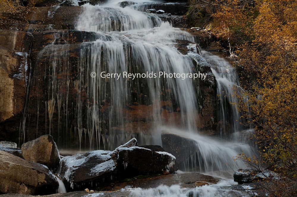 Waterfall, Aspen, Aspen tree, Aspen trees, Lone Pine Creek, Creek, Mt. Whitney Portal, Mount Whitney Portal, Inyo National Forest, California