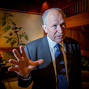 """Governor of Alaska, William M. """"Bill"""" Walker (Independent) photographed at the Captain Cook Hotel in Anchorage. The arctic state face new challenges with low oil prices, as Alaska is entirely dependent on royalties from the oil production."""