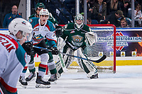 KELOWNA, BC - JANUARY 09:  Alex Swetlikoff #17 of the Kelowna Rockets looks for the pass as Dustin Wolf #32 of the Everett Silvertips defends the net at Prospera Place on January 9, 2019 in Kelowna, Canada. (Photo by Marissa Baecker/Getty Images)