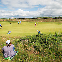 Picture by Christian Cooksey/CookseyPix.com . Standard repro rates apply. <br /> <br /> Aberdeen Asset Management Ladies Scottish Open at Dundonald Links, Irvine Ayrshire. <br /> <br /> Scotland's  Carly Booth (pink and black) and Kylie Walker on the 10th green.