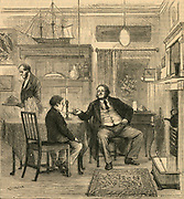 Victorian father talking to his son about his future. Engraving, 1879