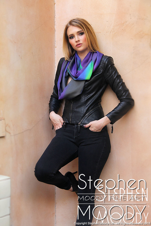 "Coming Out Womens Silk Scarf - Wearable Art Catalog, designed by artist Stephen Moody in Scottsdale, AZ from the artwork ""Art In Its Most Human Form""TM.  Moody's art is available for purchase on Canvas, watercolor paper and silk wearable art."