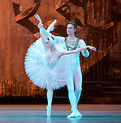 Swan Lake <br /> Bolshoi Ballet <br /> at The Royal Opera House, Covent Garden, London, Great Britain <br /> press photocall / rehearsal <br /> 29th July 2016 <br /> <br /> <br /> Olga Smirnov as Odette <br /> <br /> Denis Rodkin as Prince Sigfried <br /> <br /> <br /> <br /> Photograph by Elliott Franks <br /> Image licensed to Elliott Franks Photography Services