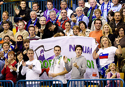 Fans of Slovenia celebrate during handball match between National teams of Slovenia and Portugal in the Qualifications of the EHF EURO 2012, on October 27, 2010 at Arena Zlatorog, Celje, Slovenia. Slovenia defeated Portugal 34 - 31.(Photo By Vid Ponikvar / Sportida.com)