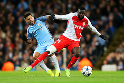 Sergio Aguero of Manchester City challenges Tiemoue Bakayoko of Monaco - Mandatory by-line: Matt McNulty/JMP - 21/02/2017 - FOOTBALL - Etihad Stadium - Manchester, England - Manchester City v AS Monaco - UEFA Champions League - Round of 16 First Leg