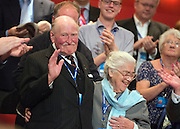 © Licensed to London News Pictures. 01/10/2014. Birmingham, UK Patrick Churchill, A DDay veteran and his wife.  David Cameron delivers his leaders speech at  The Conservative Party Conference in Birmingham 1st October 2014 2014. Photo credit : Stephen Simpson/LNP