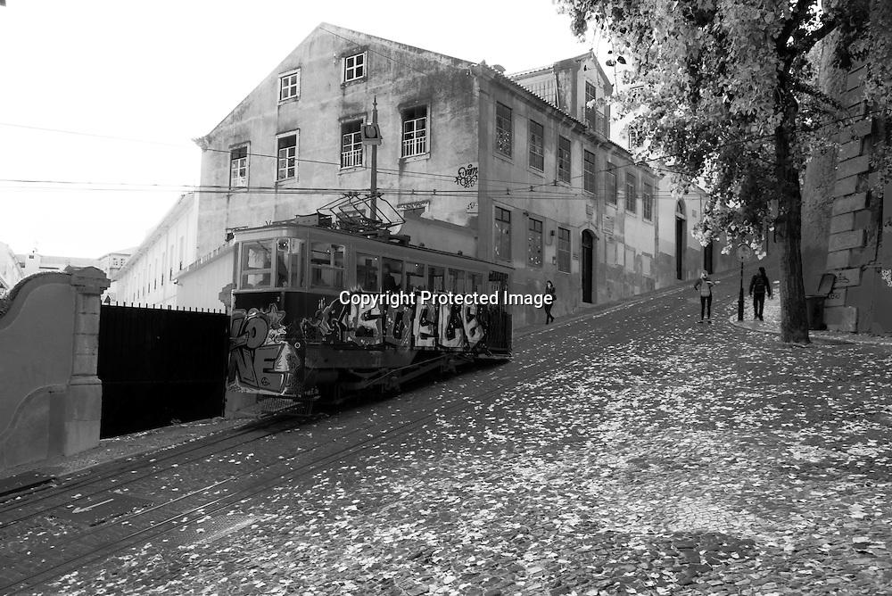 Portugal . lisbon cable car .elevador da gloria