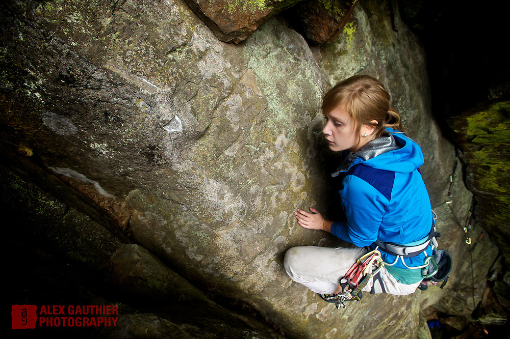Lauren Reynolds makes easy work of a trad route at Carver Bridge Cliff near the town of Carver, Oregon.