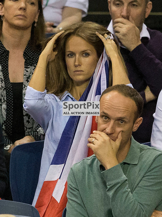 Davis Cup semi-final: Great Britain v Australia<br /> <br /> Kim Murray watching  Andy Murray v Bernard Tomic during Sunday's first Rubber.<br /> <br /> <br /> Picture: Alan Rennie