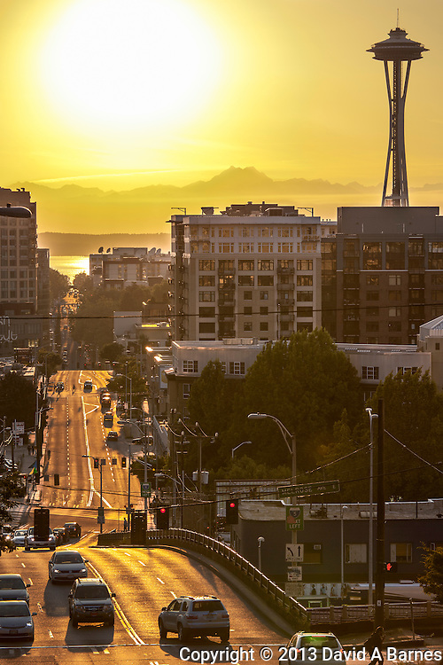Denny Way, Space Needle, Olympic Mountains, Seattle, Washington, USA