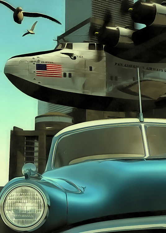 This scene comes to us from out of the past. Judging by the car and plane depicted in this scene, we can guess that this piece is set in the 1950s. The car is a classic now, but it was once the newest, hottest thing on the road. Its iconic design transports us back to this era with ease. Behind the classic car, we can see an airplane with its massive propellers. The American flag is brilliantly displayed along the side of the plane. It seems likely that this plane has experienced some pretty amazing adventures. Gulls fly alongside the plane. It is a beautiful day.