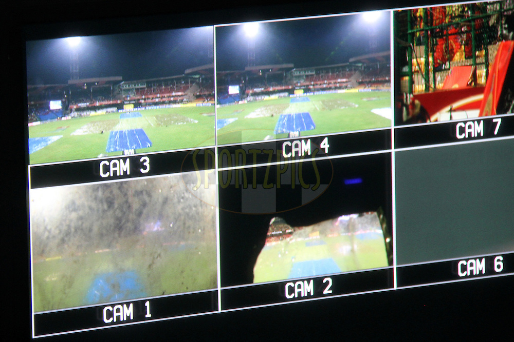 View of different cameras in TV control room during match 34 of the the Indian Premier League ( IPL) 2012  between The Royal Challengers Bangalore and the Chennai Superkings held at the M. Chinnaswamy Stadium, Bengaluru on the 25th April 2012..Photo by Prashant Bhoot/IPL/SPORTZPICS