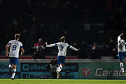 Tranmere Rovers midfielder Kieron Morris (7) scores a goal and celebrates  1-2 during the The FA Cup match between Wycombe Wanderers and Tranmere Rovers at Adams Park, High Wycombe, England on 20 November 2019.