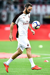 August 31, 2018 - Milan, Italy - Gonzalo Higuan of AC Milan during Serie A match between  AC Milan v AS Roma in Milan, Italy, on August 31, 2018. (Credit Image: © Giuseppe Maffia/NurPhoto/ZUMA Press)
