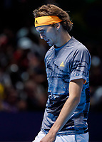 Tennis - 2019 Nitto ATP Finals at The O2 - Day Seven<br /> <br /> Semi Finals: Dominic Thiem (Austria) Vs. Alexander Zverev (Germany)<br /> <br /> A dejected Alexander Zverev (Germany) bows his head after his two set loss <br /> <br /> COLORSPORT/DANIEL BEARHAM<br /> <br /> COLORSPORT/DANIEL BEARHAM