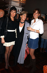 Left to right, MISS TARA PALMER-TOMKINSON, her mother PATTI PALMER-TOMKINSON and SANTA SEBAG-MONTEFIORE at a party to celebrate the publication of 'E is for Eating' by Tom Parker Bowles held at Kensington Place, 201 Kensington Church Street, London W8 on 3rd November 2004.<br />