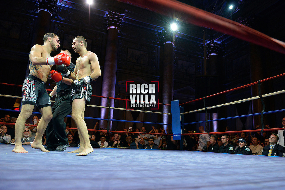 Nick Pace(Left) and Niko Tsigaras(Right) finish their fight at the Combat at the Capitale event at the Capitale Theater in New York City on September 27, 2013